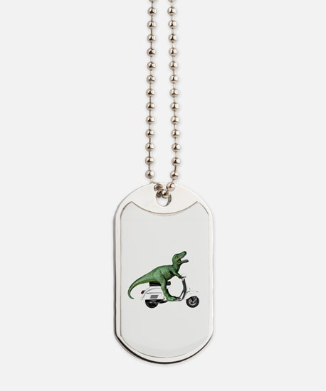 T-Rex Rides Scooter Dog Tags