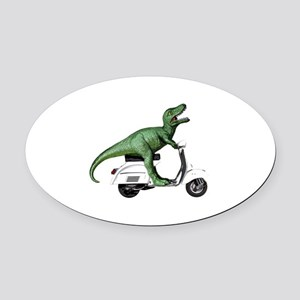 T-Rex Rides Scooter Oval Car Magnet