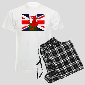 Welsh And Union Jack Flag Men's Light Pajamas