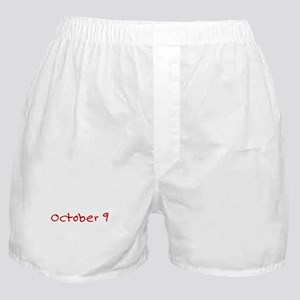 """October 9"" printed on a Boxer Shorts"