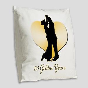 50th Wedding Anniversary Burlap Throw Pillow