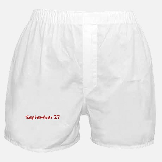 """""""September 27"""" printed on a Boxer Shorts"""