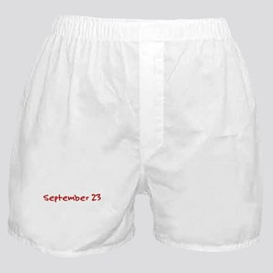 """September 23"" printed on a Boxer Shorts"