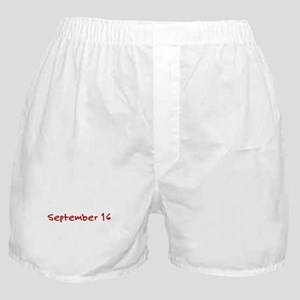 """September 16"" printed on a Boxer Shorts"