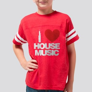 i_love_house_music_01_white Youth Football Shirt