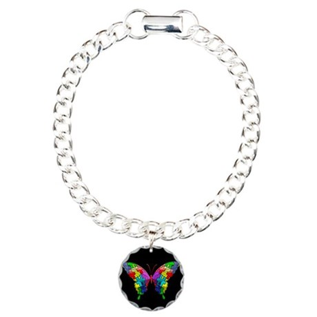 Autism Awareness Butterf Charm Bracelet, One Charm