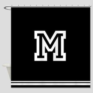 Black Monogram Shower Curtain