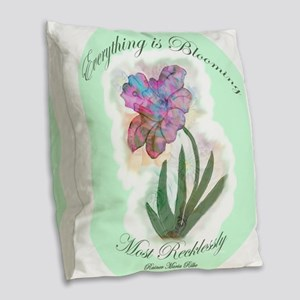 Everything Is Blooming Jonquil Burlap Throw Pillow