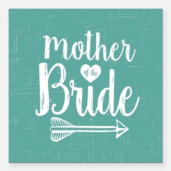 "Mother Bride Square Car Magnet 3"" x 3"""