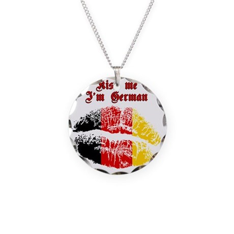 Kiss Me I'm German Necklace Circle Charm