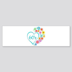 60s Heart and Flowers Bumper Sticker