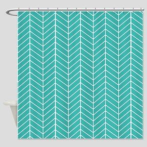 Aqua Herringbone Shower Curtain