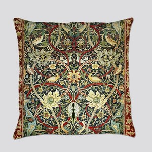 Floral Persian Rug with Birds Everyday Pillow