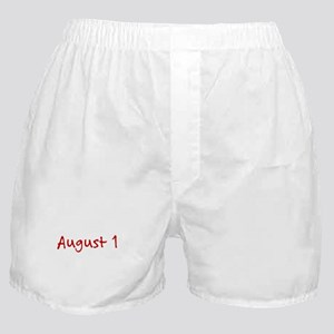 """August 1"" printed on a Boxer Shorts"