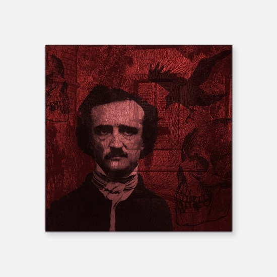 "Cute Edgar allen poe Square Sticker 3"" x 3"""