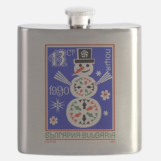 1989 Bulgaria Holiday Snowman Postage Stamp Flask
