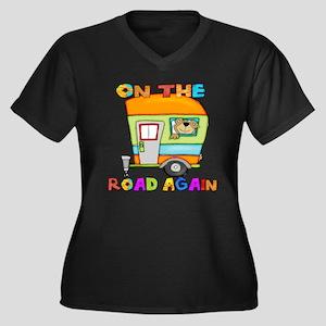 On the road Women's Plus Size V-Neck Dark T-Shirt