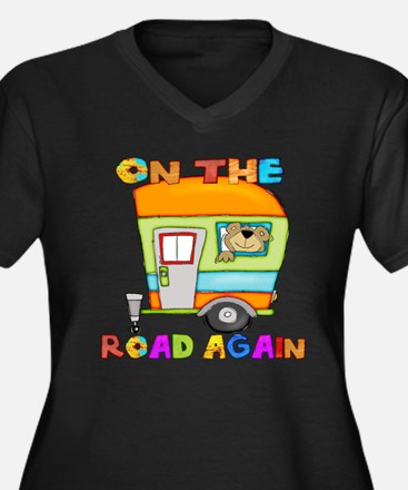 On the road Women's Plus Size V-Neck Dark T-Shirt
