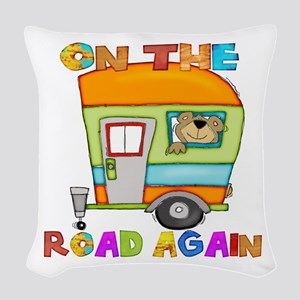On the road again Woven Throw Pillow