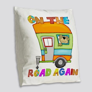 On the road again Burlap Throw Pillow