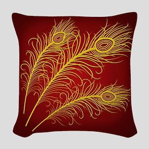 Golden Feathers Woven Throw Pillow
