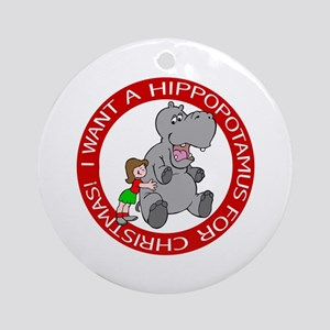 Hippopotamus For Christmas Ornament (Round)