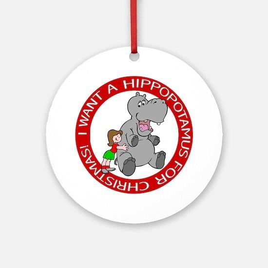 Hippopotamus For Christmas Ornament (Round)