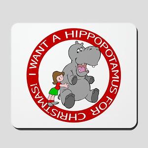 Hippopotamus For Christmas Mousepad