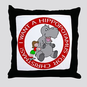Hippopotamus For Christmas Throw Pillow