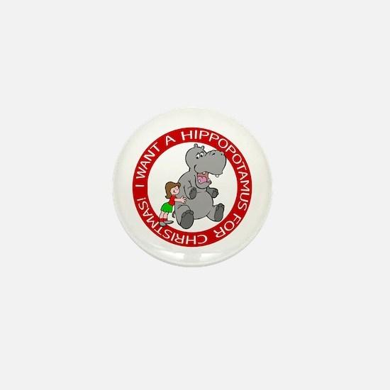 Hippopotamus For Christmas Mini Button