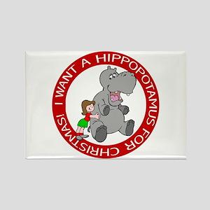Hippopotamus For Christmas Rectangle Magnet