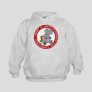 Hippopotamus For Christmas Kids Hoodie