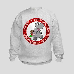 Hippopotamus For Christmas Kids Sweatshirt
