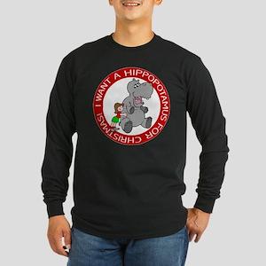 Hippopotamus For Christmas Long Sleeve Dark T-Shir