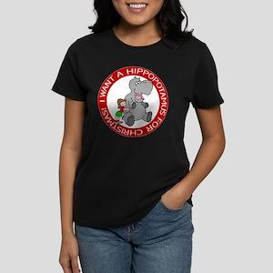 Hippopotamus For Christmas Women's Dark T-Shirt
