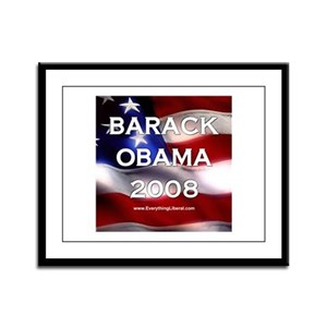 Barack Obama Flag II Framed Panel Print