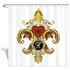 Monogram A Fleur-de-lis Shower Curtain