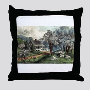 American homestead spring - 1869 Throw Pillow