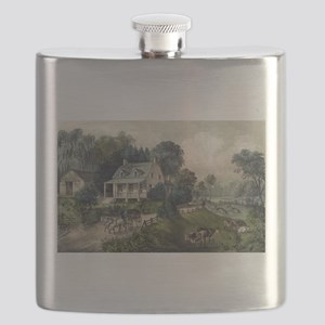 American homestead summer - 1868 Flask
