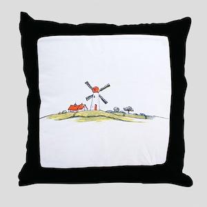 Scenic Dutch Windmill Throw Pillow