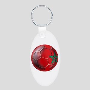 Moroccan Soccer Ball Aluminum Oval Keychain