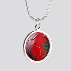 Moroccan Soccer Ball Silver Round Necklace