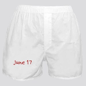 """""""June 17"""" printed on a Boxer Shorts"""