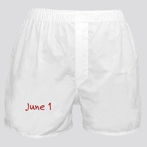 """June 1"" printed on a Boxer Shorts"