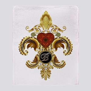 Monogram B Fleur-de-lis Throw Blanket