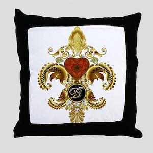Monogram B Fleur-de-lis Throw Pillow