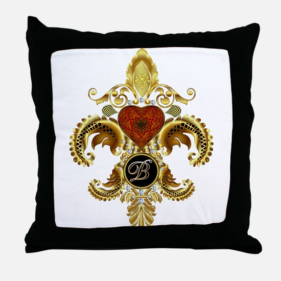 Monogram B Fleur-de-lis Throw Pillow