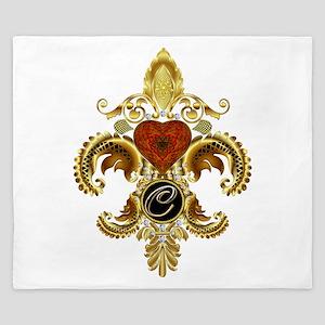Monogram C Fleur-de-lis King Duvet