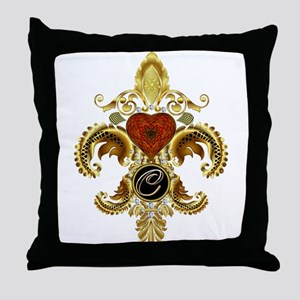 Monogram C Fleur-de-lis Throw Pillow