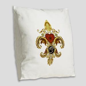 Monogram C Fleur-de-lis Burlap Throw Pillow